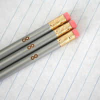 infinity pencil set 3 pencils in silver.  back to school supplies. infinity symbol.