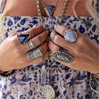 s Vintage Turkish Beach Punk Zircon Ring Ethnic Carved Totem Antique Silver Plated Boho Finger Ring Knuckle Charm Anelli SM6