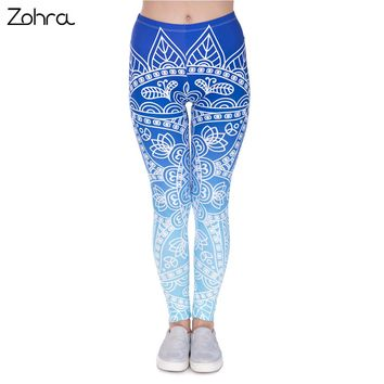 Zohra High Quality Women Legins Mandala Ombre Blue Printing Legging Fashion Casual High Waist Woman Leggings
