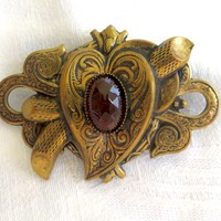 Vintage Art Nouveau Heart Brooch, Garnet Lucite Center Stone, Etched Art Nouveau Pin Vintage Jewelry