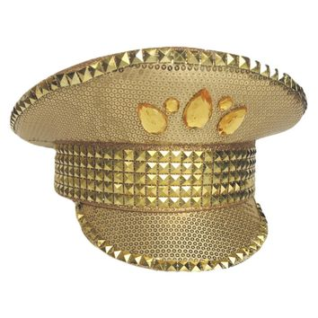 Gold Bright Sequin Military Cap