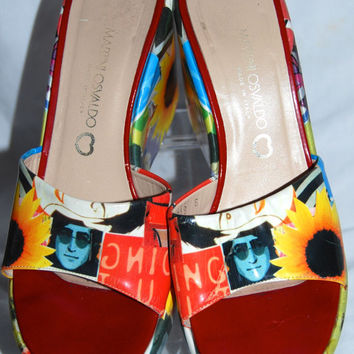 "Made in ITALY Martini Osvaldo Platform Slide Sandals 3.5"" Heel Shoes SIZE 8.5 John Lennon Picture with Flowers 60's Look"