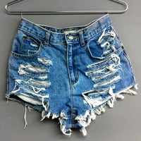 Plus Size High Waisted Denim Shorts - Shredded