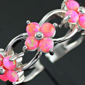 Miss Penny Lane Floral Pink Fire Opal Ring