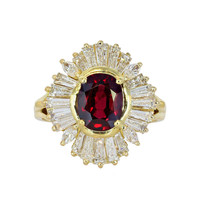 2.15 Carat Ruby & Diamond Cluster Estate Ring