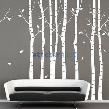 large vinyl white birch tree decal wall tree decal nursery birch for living room wall decor