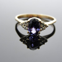 Bright, Rich Purple Sapphire Engagement Ring with Diamond Accents... RGSA118D