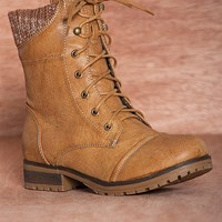 Refresh No Wind No Rain Sweater Cuff Lace Up Combat Boots Wynne-06 - Tan