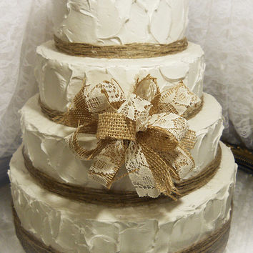 Burlap & Lace Cake Topper Bow with twine for tiers. Made to order.