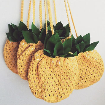 Pine Apple bag, Crossbody Bag, Pine apple Crochet Bag, Beach bag, Yellow, Crochet Bag, Fashion, Crossbody Purse, Love Pineapple ,Love Beach