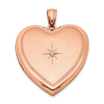 925 Sterling Silver Rose Gold-plated and Diamond 24mm Diamond Cut Heart Locket