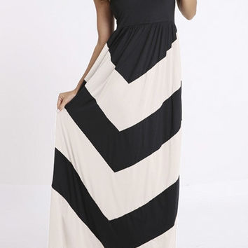 Strapless Backless Color Block A-Line Maxi Dress
