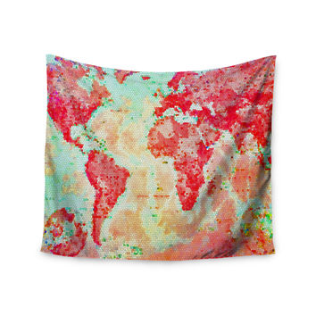 "Alison Coxon ""Oh The Places We'll Go"" World Map Wall Tapestry"