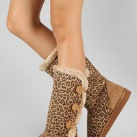 Window-70 Leopard Button Fur Knee High Boot