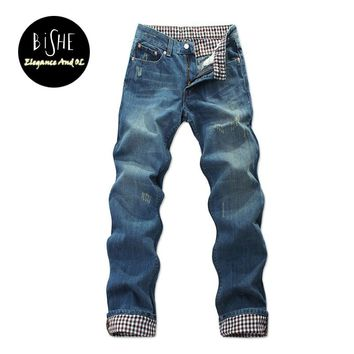 Fashion Full Length Blue Jeans Men Straight Denim Jeans Trousers Plus Size 37 38 40 42 44 Casual Trousers Male Brand Biker Jean