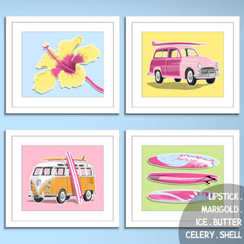 girls surf art surfer girl decore beach art prints surf art prints - custom colors- girls surfing decor