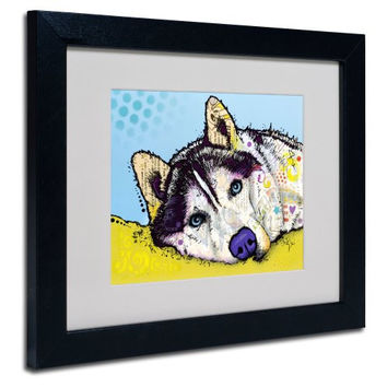 Trademark Fine Art Siberian Husky II Matted Artwork by Dean Russo with Black Frame, 11 by 14-Inch