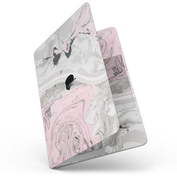 """Mixtured Pink and Gray Textured Marble - 13"""" MacBook Pro without Touch Bar Skin Kit"""