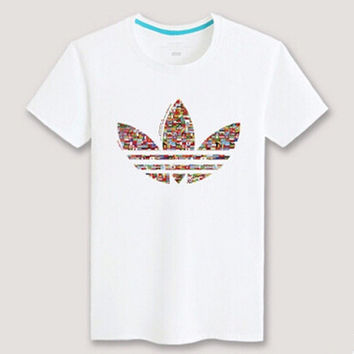 """Adidas"" Unisex Fashion Casual Multicolor Clover Print Round Neck Short Sleeve Loose Cotton T-shirt"