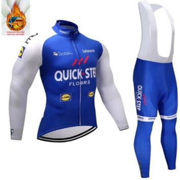 Quick step Cycling Jerseys Cycling Set Winter Thermal Fleece Long Sleeves Racing MTB Suit Maillot Bike Clothing Ropa Ciclismo