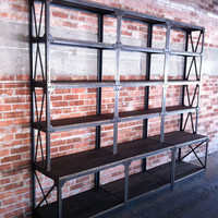 Vintage Industrial Ironworker Shelf / Bookcase / Fixture / French Retail