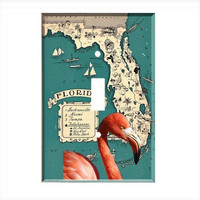 Light Switch Cover - Light Switch Plate  Florida Flamingo Map