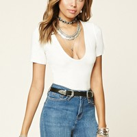 Ribbed Knit Scoop Neck Tee