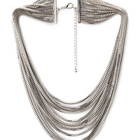 FOREVER 21 Layered Box Chain Necklace Silver One