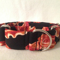 Timeless Treasures Bacon Black Martingale or Quick Release Collar
