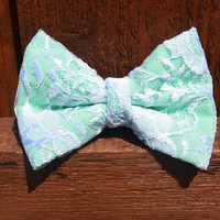 Large Lace over Mint Hair Bow