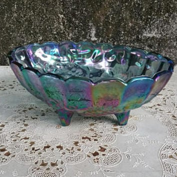 Vintage Indiana Glass Carnival Glass Large Oval Fruit Bowl Iridescent Blue