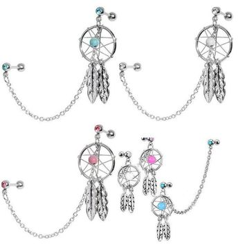 2pcs/lot Dream Catcher Star Helix Tragus Cuff Ear Piercing Cartilage Stud Earring tragus piercing earring