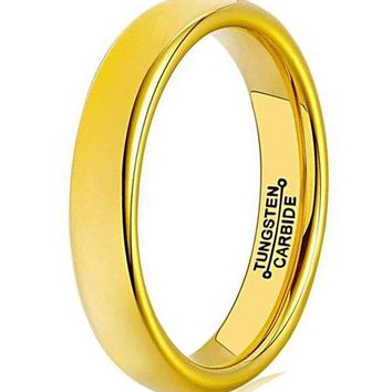 4mm Gold Tungsten Carbide Ring Simple Domed Design Wedding Jewelry Thin Engagement Promise Band High Polished