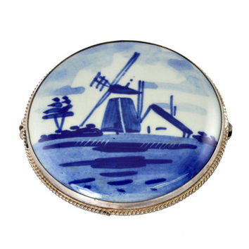 Vintage Blue Pin - 1960s Delft Brooch - Made in Holland - Windmill, 800 Silver Jewelry - Large Size