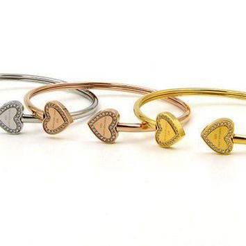 Heart Double Heart Forever Love Cnc Drill Bracelet South Korean Micro   Drill Hollow Tube Twisted Bracelet.