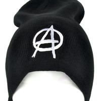 White Anarchy Sign Beanie Punk Rock Clothing Knit Cap
