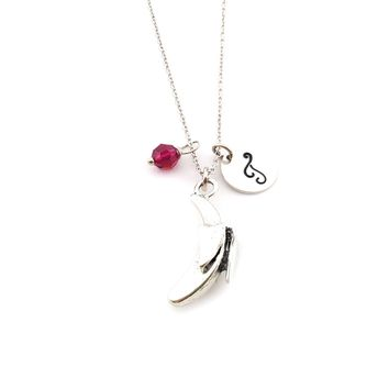 Banana Charm Personalized Sterling Silver Necklace