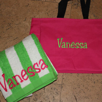 Personalized Beach Bag and  Towel