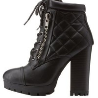 Black Bamboo Lug Sole Quilted Combat Booties