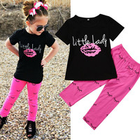 Sweet Girls Clothes Set Toddler Kids Short Sleeve Slip T-shirt Tops Pant Legging 2PCS Little Lady Outfit Children Clothing 1-6Y