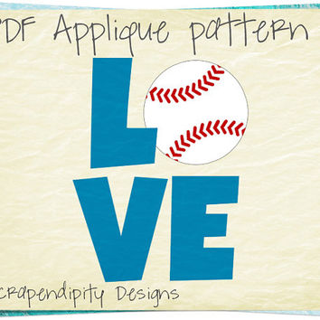 Baseball Applique Template - Sports Applique Pattern / Kids Baseball Quilt Pattern / Boys Boutique Clothing / Baseball Love Design AP357-D