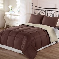 Chezmoi Collection 3-Piece Super Soft Goose Down Alternative Reversible Comforter Set, King, Brown Tan