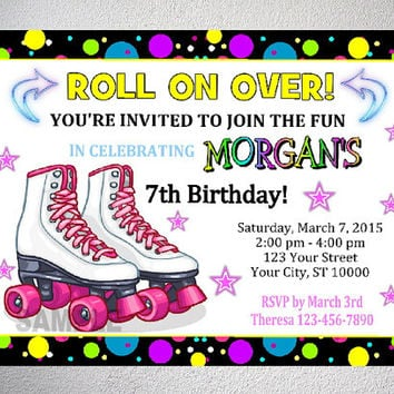 Rollerskating Party Invitation, Printable Roller Skate Birthday Party Invitation With Free Thank You Card, Roller Skate Party, Digital Files