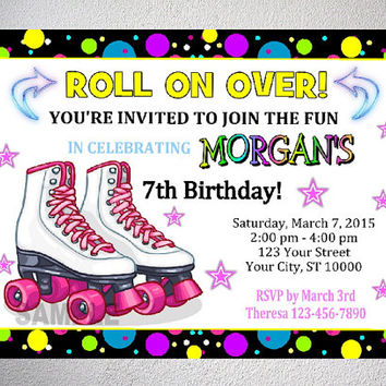 Rollerskating party invitation printable from dpiexpressions on rollerskating party invitation printable roller skate birthday party invitation with free thank you card filmwisefo