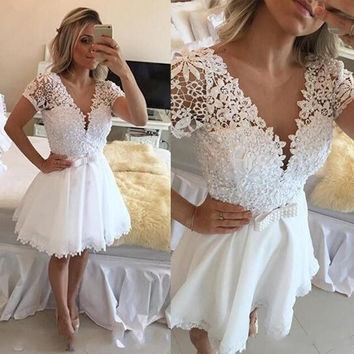 Homecoming Dresses, White Lace Homecoming Dresses with Beadings