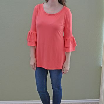 In the City Ruffle Coral Top