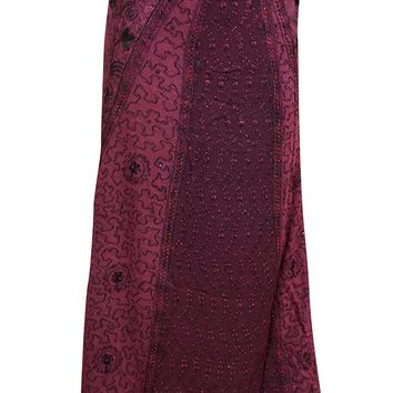 Indian Wrap Around Skirt Hippie Pink Sequin Embroidered Maxi Wrap Skirts