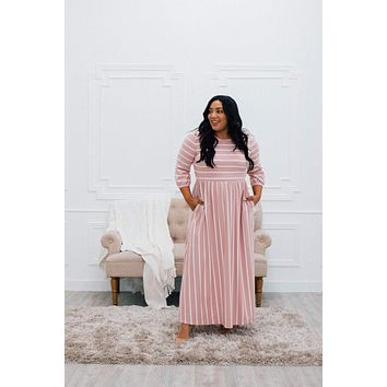 Mauve Striped Maxi Dress