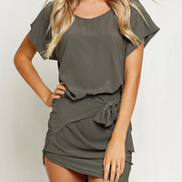 Dark Gray Short Sleeve Irregular Hem Waist Bandage Mini Bodycon Dress