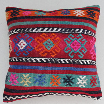 "MODERN Bohemian Home Decor,Handwoven Turkish Area Rug Kilim Pillow Cover 16"" X 16"",Decorative Rug Pillow,Vintage Rug Pillow,Throw Pillow"